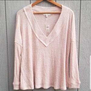 Anthopologie Eri + Ali Pink Thermal Sweater